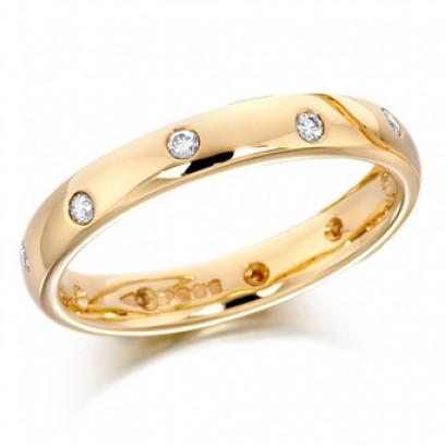 9ct Yellow Gold Ladies 3mm Wedding Ring with Alternate Set Diamonds All Around, Total Diamond Weight 15pts