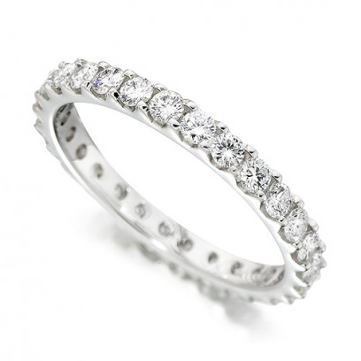 18ct White Gold Ladies Claw Set Full Eternity Ring Set With 1ct Of Diamonds