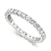 Platinum Ladies Claw Set Full Eternity Ring Set With 1ct Of Diamonds