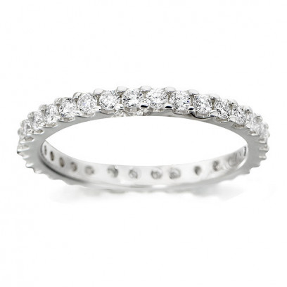 18ct White Gold Ladies Claw Set Full Eternity Ring Set With 0.75ct Of Diamonds