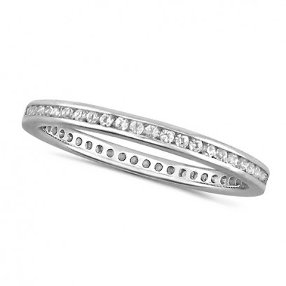 18ct White Gold Ladies Channel Set Full Eternity Ring  Set With 0.25ct Of Diamonds