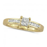 18ct Yellow Gold Ladies Third of a Carat Princess Cut Diamond Engagement Ring with Channel Set Shoulders