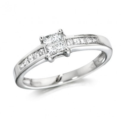 18ct White Gold Ladies Third of a Carat Princess Cut Diamond Engagement Ring with Channel Set Shoulders