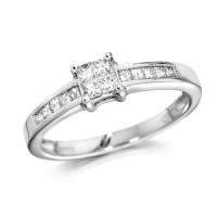 Platinum Ladies Third of a Carat Princess Cut Diamond Engagement Ring with Channel Set Shoulders