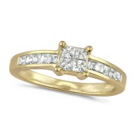 18ct Yellow Gold Ladies Half Carat Princess Cut Diamond Engagement Ring with Channel Set Shoulders