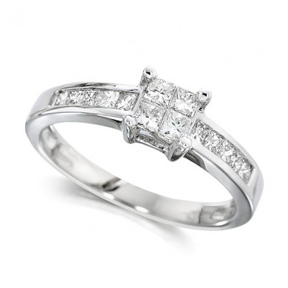 18ct White Gold Ladies Half Carat Princess Cut Diamond Engagement Ring with Channel Set Shoulders