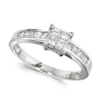Platinum Ladies Half Carat Princess Cut Diamond Engagement Ring with Channel Set Shoulders