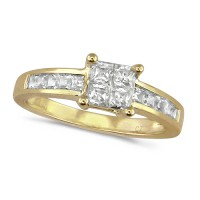 18ct Yellow Gold Ladies Three Quarter Carat Princess Cut Diamond Engagement Ring with Channel Set Shoulders