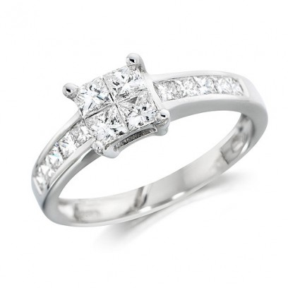 18ct White Gold Ladies Three Quarter Carat Princess Cut Diamond Engagement Ring with Channel Set Shoulders