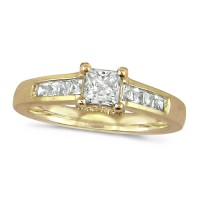 18ct Yellow Gold Ladies Three Quarter Carat Princess Cut Diamond Ring with Channel Set Shoulders