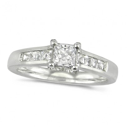 18ct White Gold Ladies Three Quarter Carat Princess Cut Diamond Ring with Channel Set Shoulders