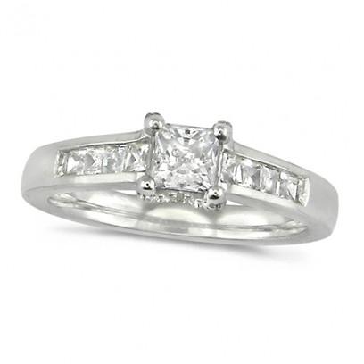 18ct White Gold Ladies Three Quarter Carat Princess Cut Diamond Ring with Channel Set Shoulders