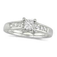 Platinum Ladies Three Quarter Carat Princess Cut Diamond Ring with Channel Set Shoulders