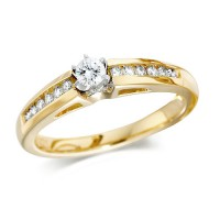 18ct Yellow Gold Ladies Quarter Carat Brilliant Cut Diamond Engagement Ring with Solitaire Diamond and Channel Set Shoulders