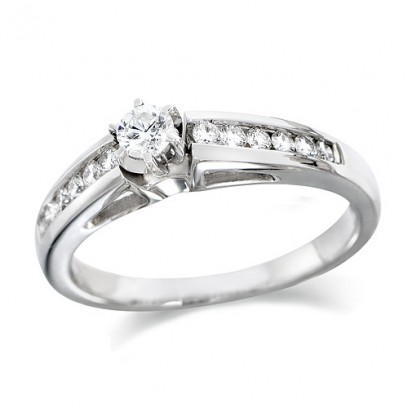 18ct White Gold Ladies Quarter Carat Brilliant Cut Diamond Engagement Ring with Solitaire Diamond and Channel Set Shoulders