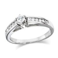 Platinum Ladies Quarter Carat Brilliant Cut Diamond Engagement Ring with Solitaire Diamond and Channel Set Shoulders