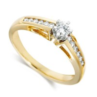 18ct Yellow Gold Ladies Third of a Carat Brilliant Cut Diamond Engagement Ring with Solitaire Diamond and Channel Set Shoulders