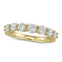 18ct Yellow Gold Ladies 7 Stone Graduated  Claw Set 1ct Diamond Half Eternity Ring