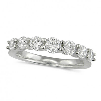 18ct White Gold Ladies 7 Stone Graduated  Claw Set 1ct Diamond Half Eternity Ring