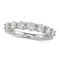 Platinum Ladies 7 Stone Graduated  Claw Set 1ct Diamond Half Eternity Ring