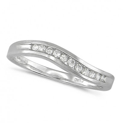 Platinum Ladies 11 Stone Channel Set Curved Wishbone  Diamond Ring Set with 12pts of Diamonds