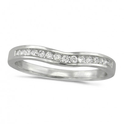 Platinum Ladies 15 Stone Channel Set Curved Wishbone  Diamond Ring Set with 16pts of Diamonds