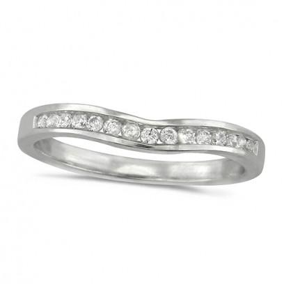 Platinum Ladies 15 Stone Channel Set Curved Wishbone  Diamond Ring Set with 16pts of Diamonds
