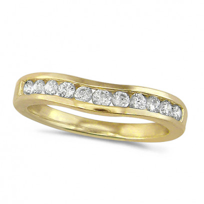 18ct Yellow Gold Ladies 11 Stone Channel Set Curved Wishbone  Diamond Ring Set with 0.39ct of Diamonds