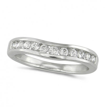 18ct White Gold Ladies 11 Stone Channel Set Curved Wishbone  Diamond Ring Set with 0.39ct of Diamonds
