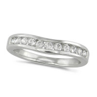 Platinum Ladies 11 Stone Channel Set Curved Wishbone  Diamond Ring Set with 0.39ct of Diamonds