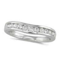 Platinum Ladies 11 Stone Channel Set Curved Wishbone  Diamond Ring Set with 0.39ct of Diamonds