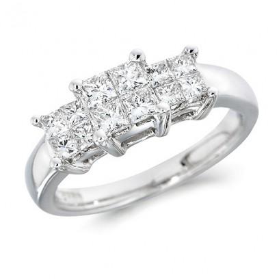 18ct White Gold Ladies 0.76ct Princess Cut Diamond Engagement Ring