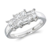 Platinum Ladies 0.76ct Princess Cut Diamond Engagement Ring