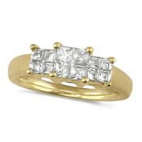 18ct Yellow Gold Ladies 0.50ct Princess Cut Diamond Engagement Ring