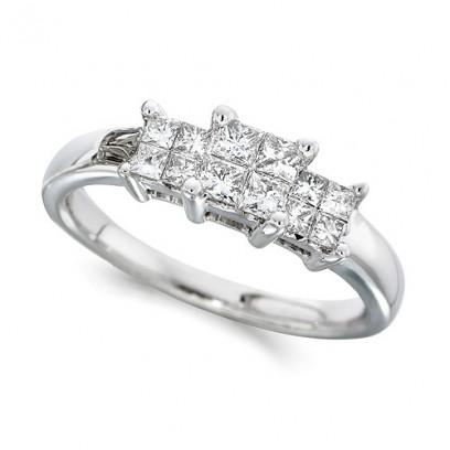 18ct White Gold Ladies 0.50ct Princess Cut Diamond Engagement Ring