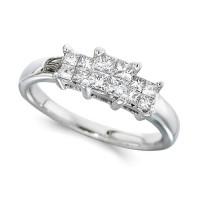 Platinum Ladies 0.50ct Princess Cut Diamond Engagement Ring