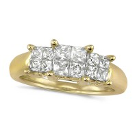 18ct Yellow Gold Ladies 1ct Princess Cut Diamond Engagement Ring
