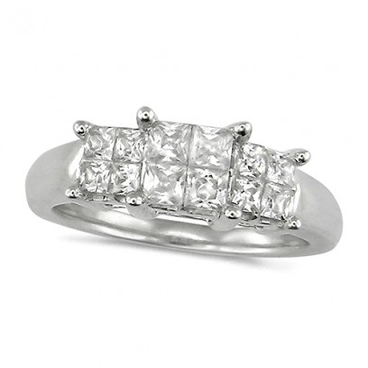 18ct White Gold Ladies 1ct Princess Cut Diamond Engagement Ring