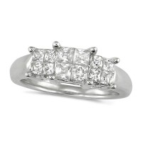 Platinum Ladies 1ct Princess Cut Diamond Engagement Ring