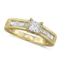 18ct Yellow Gold Ladies Diamond Engagement Ring with Solitaire 0.80ct Princess Cut and Channel Set Baguette Diamond Shoulders