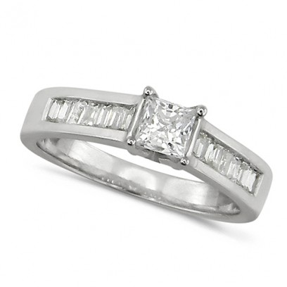 18ct White Gold Ladies Diamond Engagement Ring with Solitaire 0.80ct Princess Cut and Channel Set Baguette Diamond Shoulders