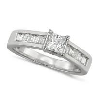 Platinum Ladies Diamond Engagement Ring with Solitaire 0.80ct Princess Cut and Channel Set Baguette Diamond Shoulders