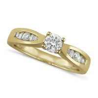 18ct Yellow Gold Ladies Half Carat Diamond Engagement Ring with Solitaire Brilliant Cut Diamond and Channel Set Round and Baguette Diamond Shoulders