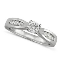 Platinum Ladies Half Carat Diamond Engagement Ring with Solitaire Brilliant Cut Diamond and Channel Set Round and Baguette Diamond Shoulders