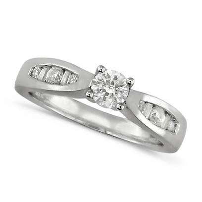 Platinum Ladies Half Carat Diamond Engagement Ring with Solitaire ... ec84c6da2a