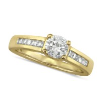 18ct Yellow Gold Ladies 0.75ct Diamond Engagement Ring with Solitaire Brilliant Cut Diamond and Channel Set Princess Cut Shoulders