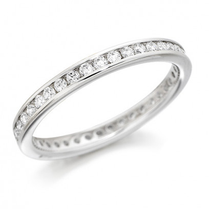 18ct White Gold Ladies Channel Set Full Eternity Ring  Set With 0.50ct Of Diamonds