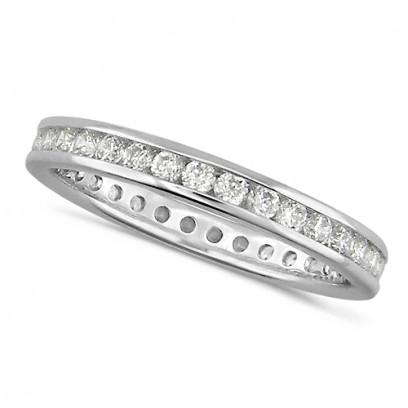 Platinum Ladies Channel Set Full Eternity Ring  Set With 0.75ct Of Diamonds
