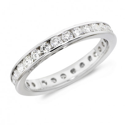 18ct White Gold Ladies Channel Set Full Eternity Ring  Set With 1ct Of Diamonds