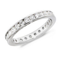 Platinum Ladies Channel Set Full Eternity Ring  Set With 1ct Of Diamonds